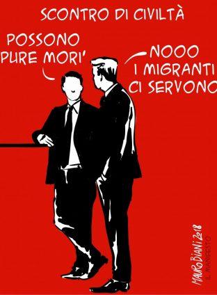 """Il """"neonazista"""" Salvini sequestra una nave, il suo equipaggio e i migranti soccorsi."""